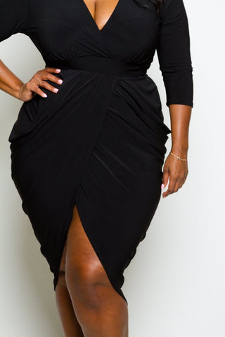 Plus Size Slay Goddess Drape Midi Dress