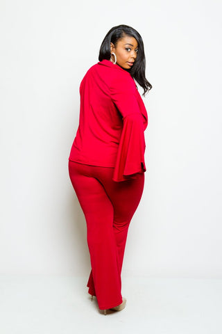 Plus Size Bell Sleeve Blazer and Pants Set