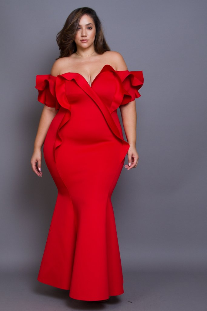 Plus Size Red Cocktail