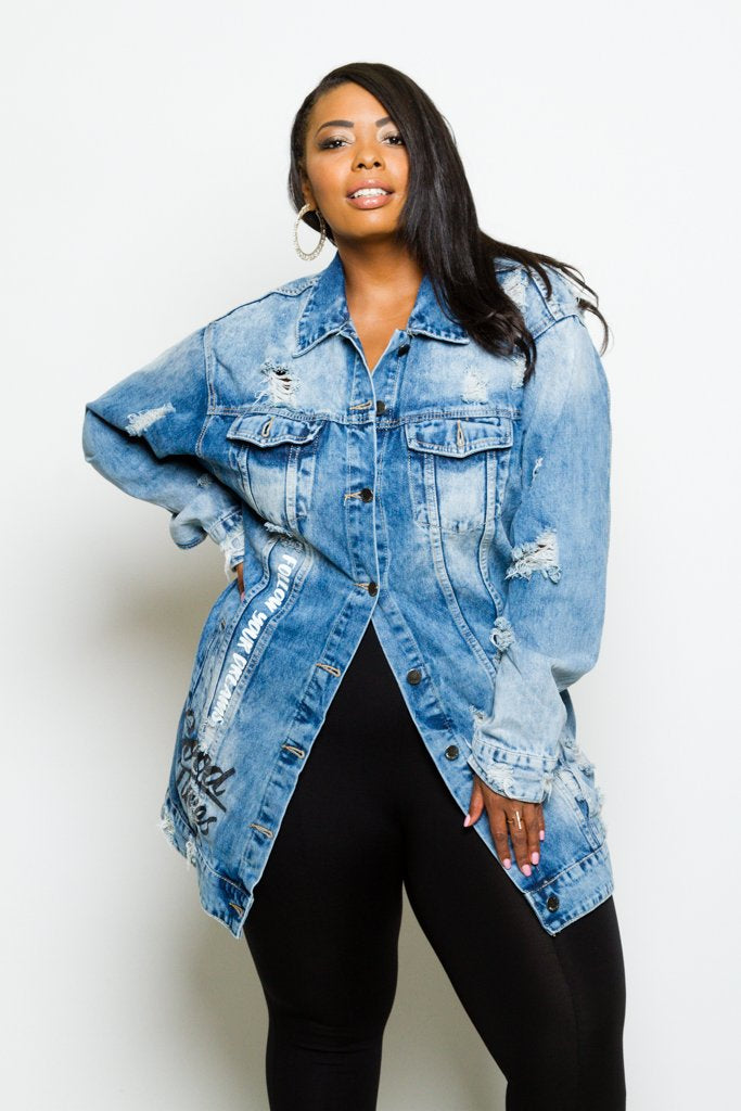 Plus Size Trendy Distressed Graffiti Denim Long Jacket ...