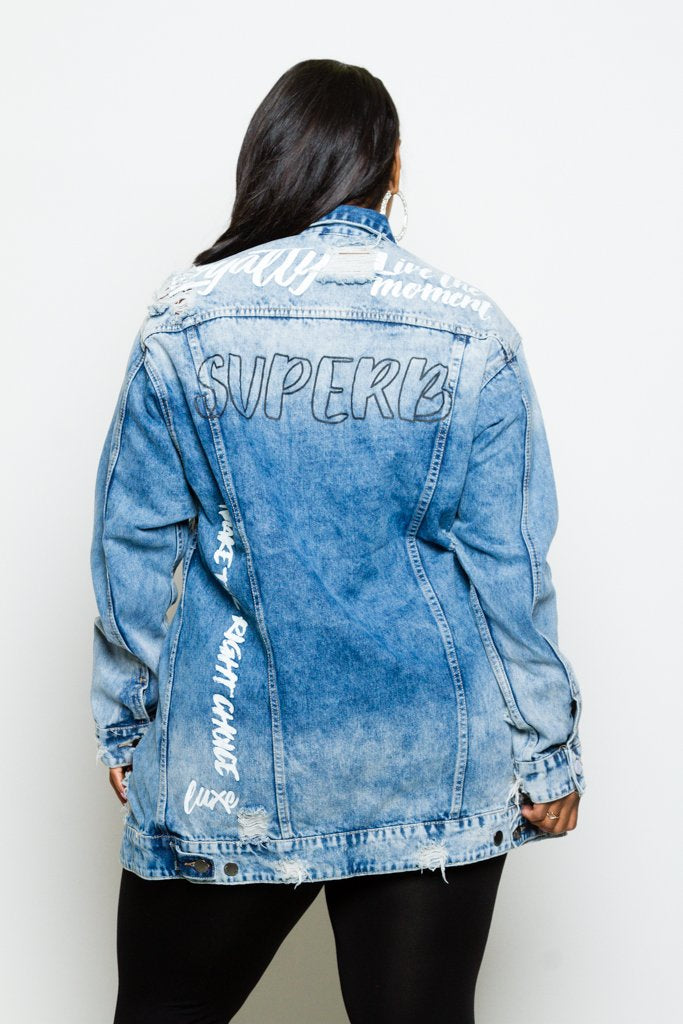 Plus Size Trendy Distressed Graffiti Denim Long Jacket