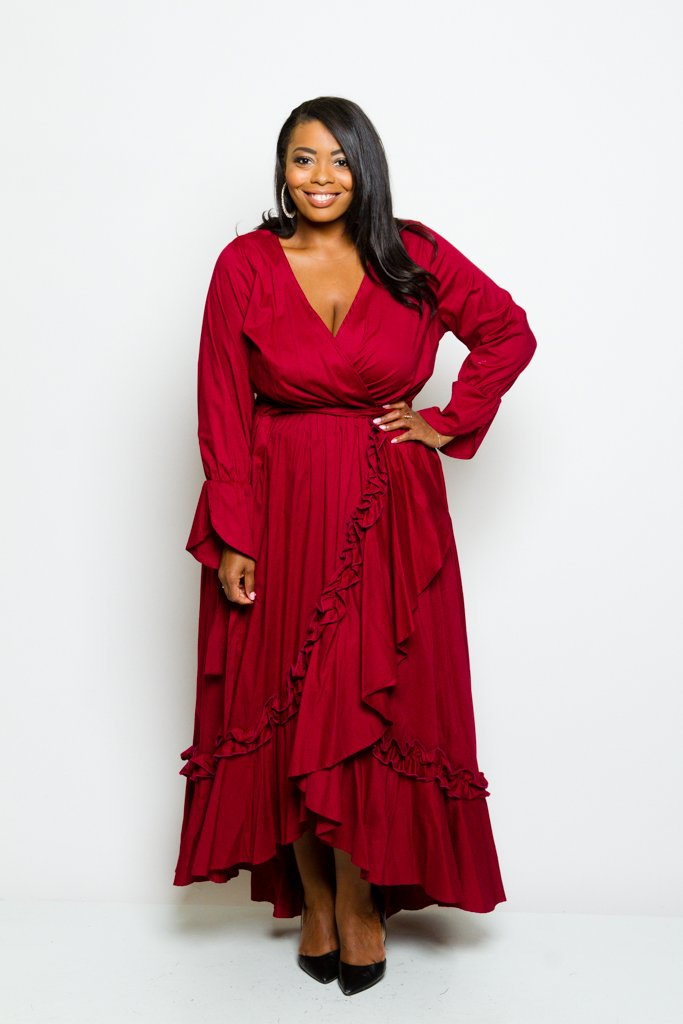 0dc170fd81f Plus Size Glam Ruffle Trim Denim Maxi Dress – Plussizefix