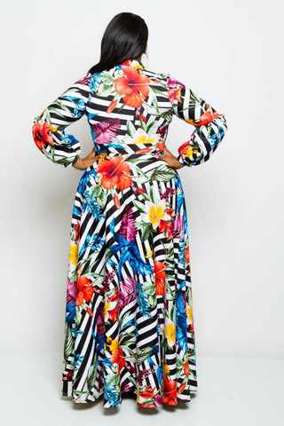 Plus Size Floral Striped Bow Maxi Dress