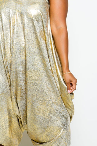 Plus Size Metallic Harem Romper
