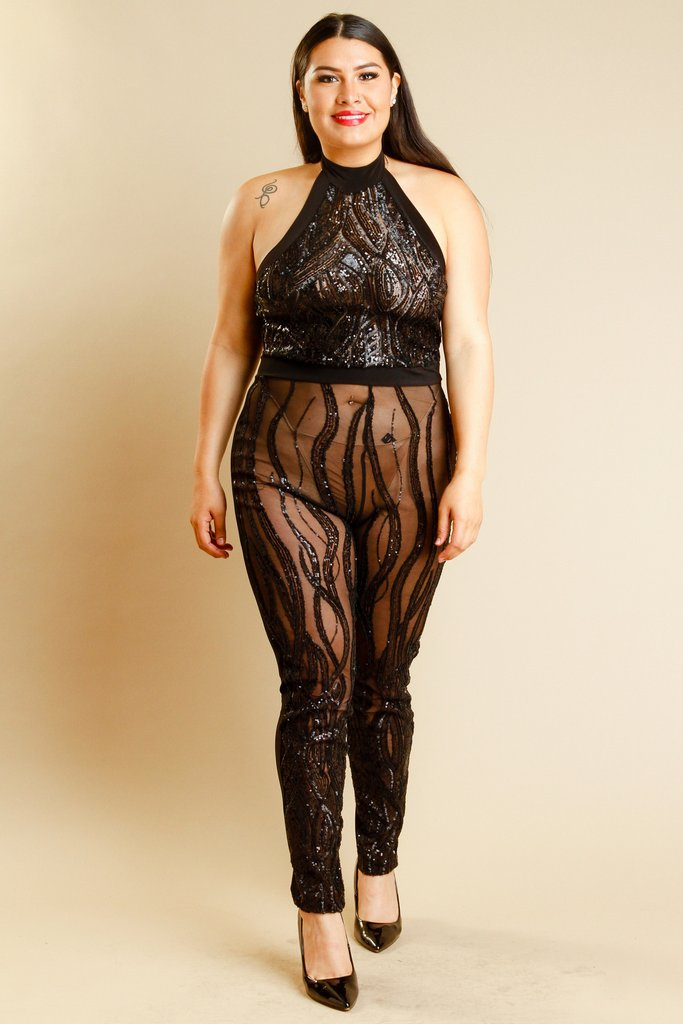07262d0029b Plus Size Sexy In Sparkling Sequin See Through Mesh Halter Jumpsuit –  Plussizefix