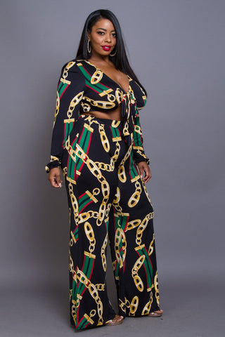 Plus Size Chain Unique Print Crop and  Pants Set