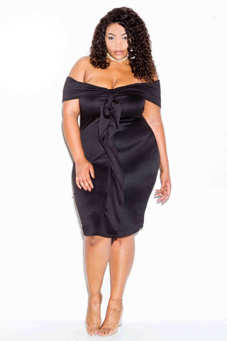 Plus Size Off Shoulder Dress with Tie Detail