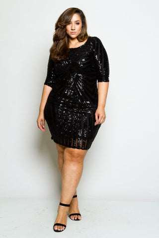Plus Size Sequin Bodycon Cocktail Dress