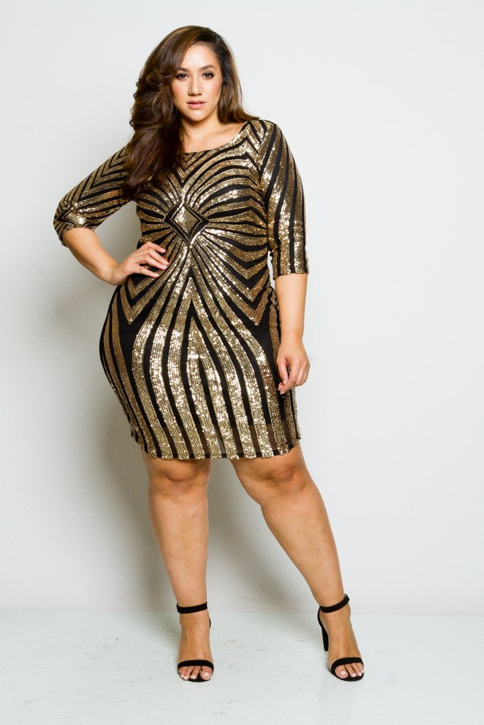Plus Size Sparkling Sequin Sexy Bodycon Cocktail Dress [SALE ...