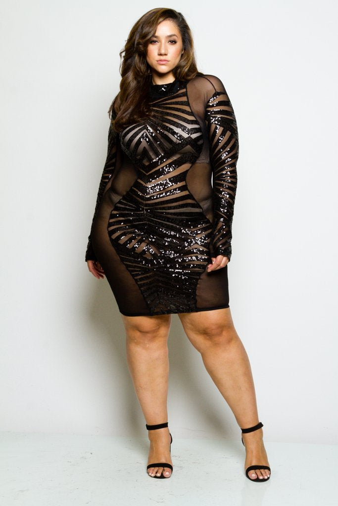 Plus Size Sparkling Sequin And Geo See Through Mesh Cocktail Dress