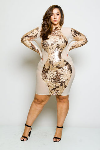 Plus Size Sequin and Mesh Cocktail Dress