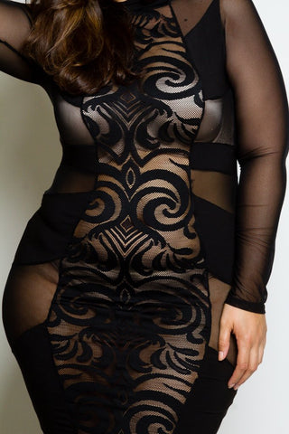 Plus Size Mesh Panel Mini Dress