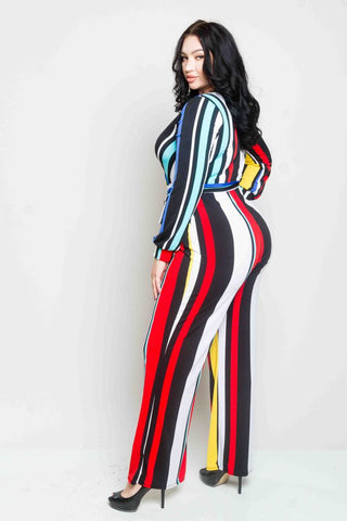Plus Size Color Stripe Jumpsuit