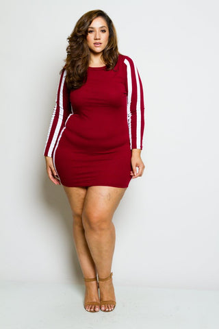 Plus Size Sporty Bodycon Mini Dress
