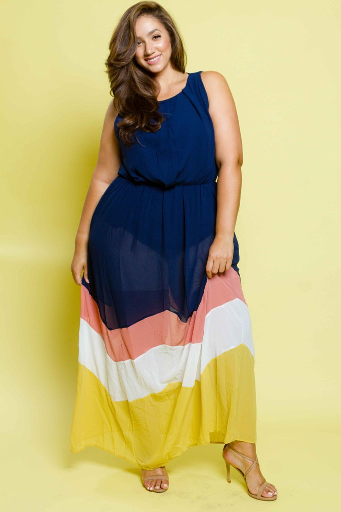 f8f5a1c2b43 Plus Size Colorblock Chiffon Maxi Dress – Plussizefix