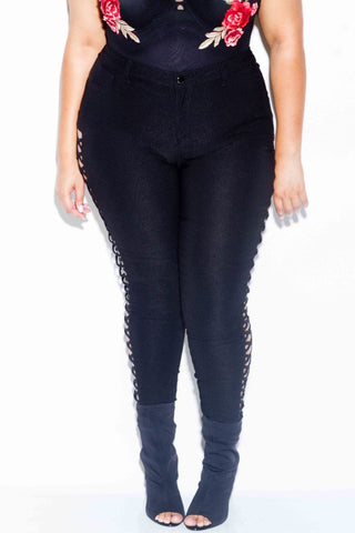 Plus Size Flirty Lace Up Skinny Pants