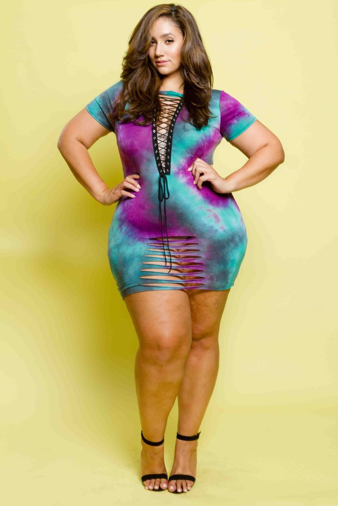 886f40262a0 Plus Size Sexy Lace Up Tie Dye Mini Dress – Plussizefix