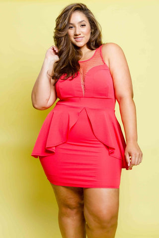 Plus Size Peplum Dress with See Through Mesh Insert