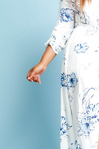 Plus Size Surplice Gorgeous Floral Maxi Dress
