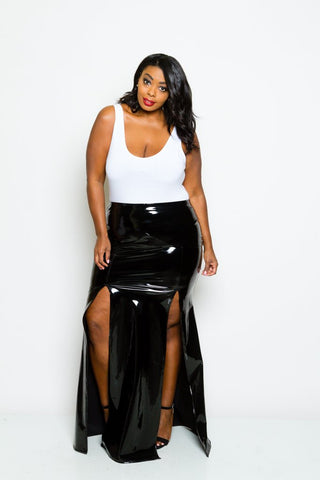 Plus Size Faux Patent Leather Maxi Skirt