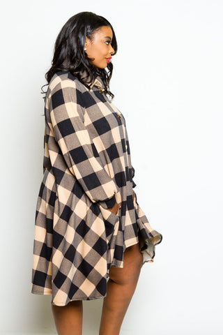 Plus Size High-low Flannel Dress