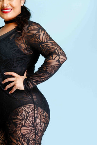 Plus Size Sexy Lace Catsuit