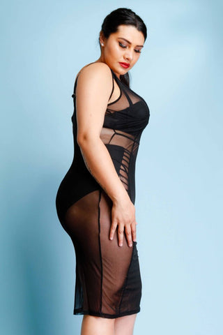 Plus Size Piping Detail See Through Mesh Midi Dress