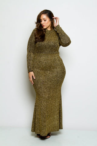f96c75101 Plus Size Sparkling Long Sleeve Showstopper Dress ...