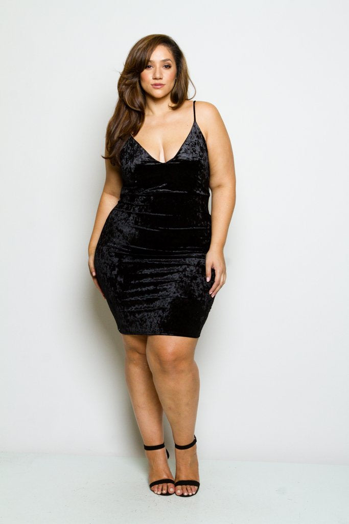 0cf6c148d5b6 Plus Size Crushed Soft Velvet Mini Dress – Plussizefix