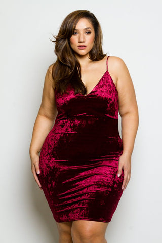 Plus Size Crushed Soft Velvet Mini Dress