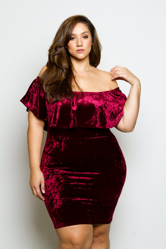 Plus Size Soft Velvet Sexy Off-Shoulder Glam Ruffle Dress