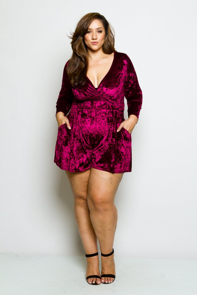 1e62bbb850f5 Plus Size Crushed Soft Velvet Long-sleeve Romper – Plussizefix
