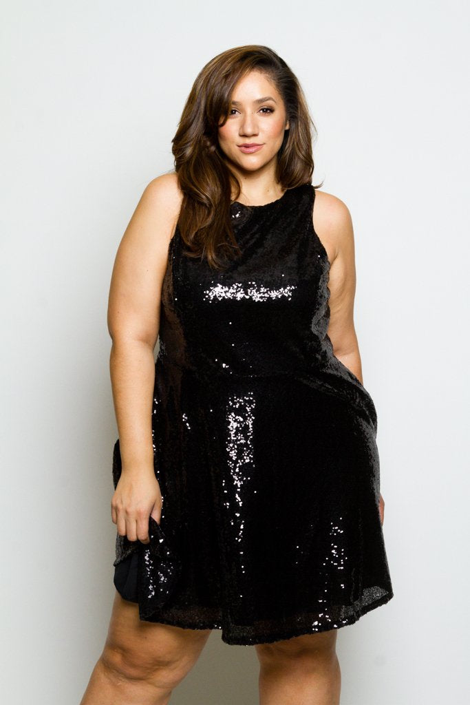 Plus Size Sleeveless Sparkling Sequin Skater Dress – Plussizefix