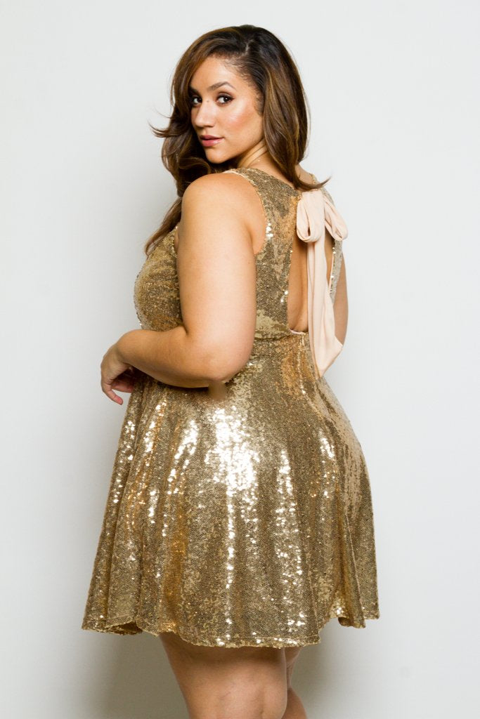 8986065fdd80 Plus Size Sleeveless Sparkling Sequin Skater Dress – Plussizefix