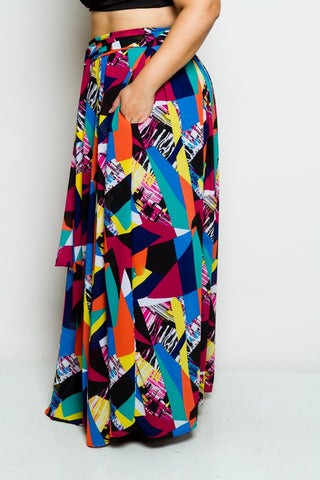 Plus Size High Wasted Pocketed Chiffon Maxi Skirt