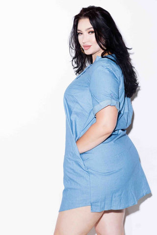 Plus Size Chambray Tunic Dress
