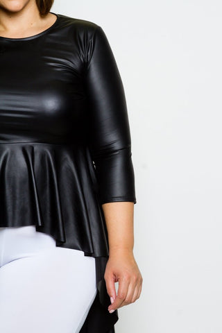 Plus Size Faux Leather Hi Lo 3/4 Sleeve Top
