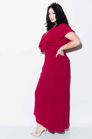 Plus Size Surplice Maxi Dress