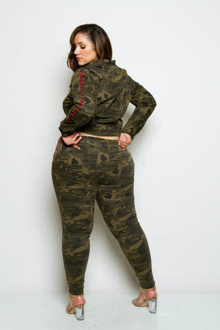 Plus Size Camo Striped Jacket and Jogger Set