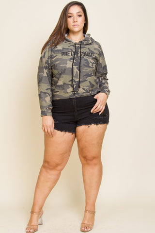 96ab765c8a ... Plus Size Trendy Camo Hooded Sweater Top ...