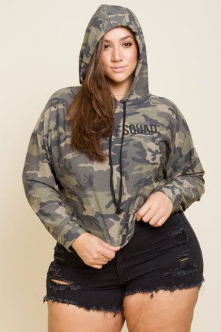 3f21b47023 Plus Size Trendy Camo Hooded Sweater Top ...