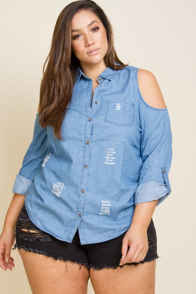 26e87d86b02 Plus Size Cold Shoulder Denim Shirt – Plussizefix