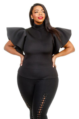 Plus Size Mock Neck Ruffle Sleeves Top