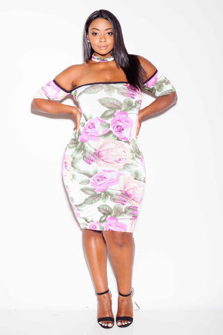 Plus Size Flora Cut Out Choker Dress