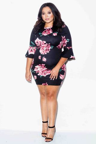 Plus Size Rose Mini Dress with Bell Sleeves