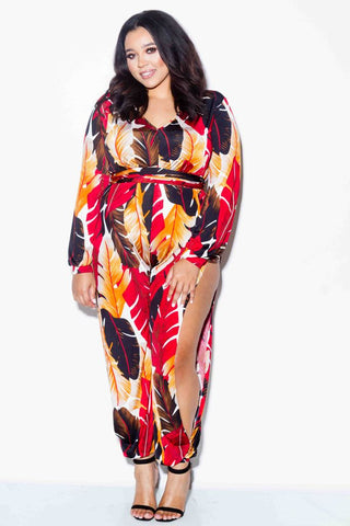 Plus Size Leafy Jumpsuit with Slits