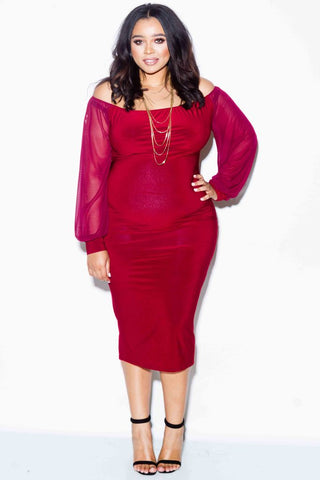 Plus Size Off Shoulder Mesh Sleeve Dress