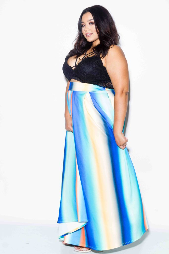 Plus Size Rainbow Maxi Skirt