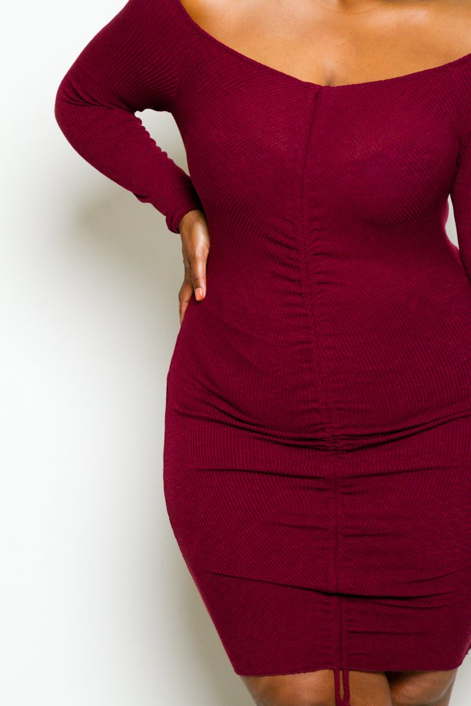 c7d21f0d30b Plus Size Long Sleeve Ribbed Sexy Bodycon Dress – Plussizefix