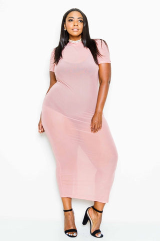 Plus Size Mesh Maxi Dress with Zipper Trim